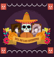 day dead skull with hat bread photos frame vector image vector image