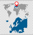 detailed map of europe and world map navigation vector image vector image