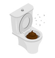 Dirty toilet isolated Shit in toilet Turd in vector image