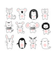 doodle poster with cute animals a collection vector image