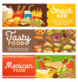 fast food meals and snacks banners vector image vector image