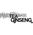 ginseng tea text background word cloud concept vector image vector image