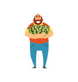 happy bearded farmer character with watermelons vector image