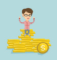 happy business woman sitting on golden coins vector image