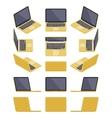 Isometric golden laptop vector image vector image