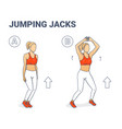 jumping jacks exercise girl workout silhouettes vector image vector image