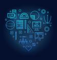 math heart blue on dark vector image vector image