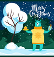 merry christmas bear with cake and present card vector image vector image