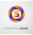 Number five logo symbol in the colorful circle on vector image vector image