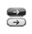 oval buttons with arrow black and white icons vector image vector image