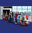 people boarding the airplane at the gate vector image