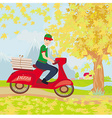 pizza delivery man on a motorcycle vector image