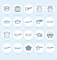 pot pan and steamer flat line icons restaurant vector image vector image