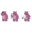 Purple Hippo Mascot with laptop vector image vector image
