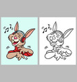 rabbit hearing music cartoon character vector image