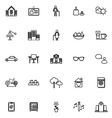 Retirement community line icons on white vector image vector image
