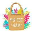 reusable eco shopping bag zero waste and save the vector image