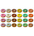set donut with different icing glaze stripes vector image