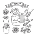 Set hand drawn icon honey vector image vector image