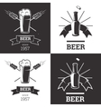 Set of beer insignia logos with glassware isolated vector image vector image