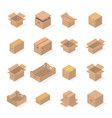 set of cardboard boxes in 3d vector image vector image