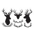 set silhouettes deer and deer antlers deer
