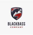 shield and blackbass logo icon icon template vector image