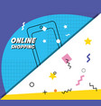 shopping cart with smartphone on line vector image vector image