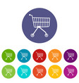 small trolley icons set color vector image vector image