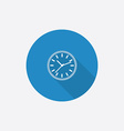 time circle Flat Blue Simple Icon with long shadow vector image vector image