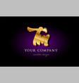 tm t m 3d gold golden alphabet letter metal logo vector image vector image