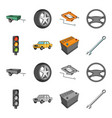 traffic light old car battery wrench car set vector image