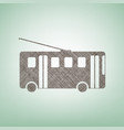trolleybus sign brown flax icon on green vector image vector image