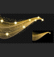 two gold waves with a glitter effect on a vector image