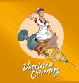 vaccine is coming vector image