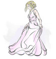 walking bride watercolor drawing vector image