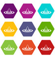 water drop and spill icon set color hexahedron vector image vector image