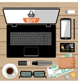 Workplace flat lay vector image