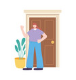 young woman in door home with plant isolated icon vector image vector image