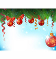 background with christmas balls and bows are vector image vector image