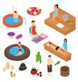 bath house elements concept 3d icon set isometric vector image