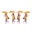 black woman with umbrella walking running vector image