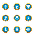 brink icons set flat style vector image