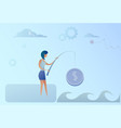 business woman fishing money coin strategy success vector image