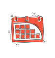 cartoon calendar icon in comic style agenda vector image vector image