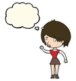 cartoon waving woman with thought bubble vector image vector image
