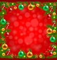 christmas tree branches around red background vector image
