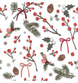 cute christmas seamless pattern with red berries vector image