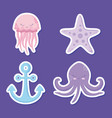cute octopuses with starfish and anchor vector image vector image