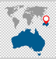 detailed map of australia and world map vector image vector image